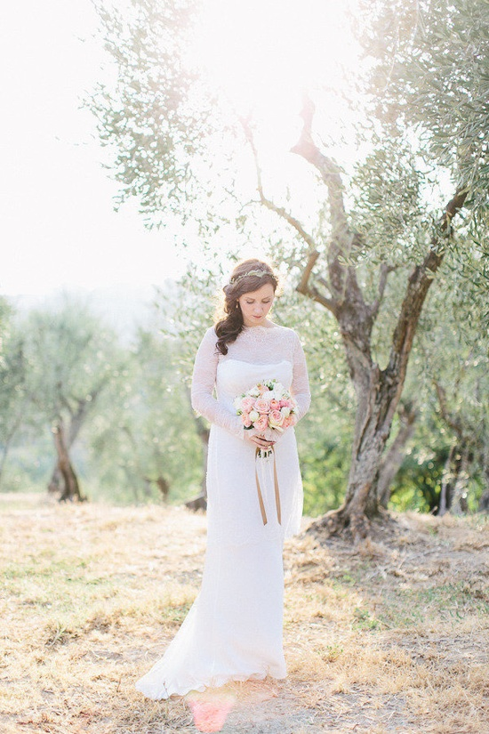 Tuscany destination wedding with a vintage inspired Wedding dress by www.melittabaumei...  Photography by carmenandingo.com