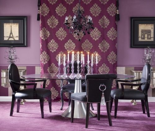 Purple dining room. Glamorous. Elegant. Fun. Eggplant. Chandelier. Bright. Bold. Vibrant. 2013 design.