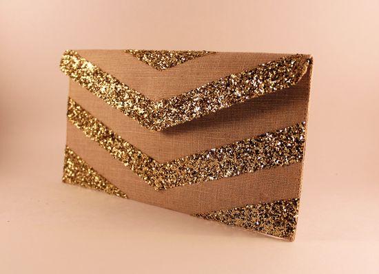 Gold Glitter Chevron Envelope Clutch
