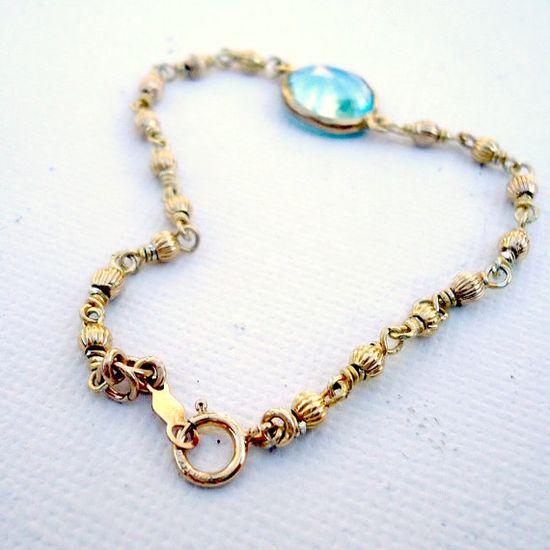 Blue Topaz Bracelet Gold Vermeil Jewelry by jewelrybycarmal, $50.00