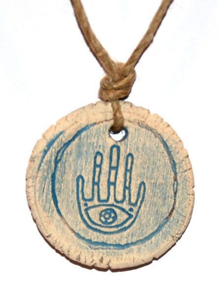 a Hand Made Clay  Pendant - Hamsa