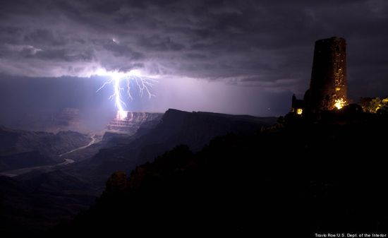 lightning bolt in the Grand Canyon