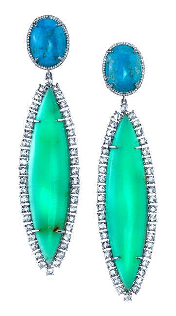 irene neuwirth turqouise mint chrysoprase and diamond earrings
