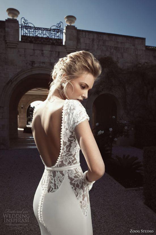 zoog bridal 2013 short sleeve wedding dress open back
