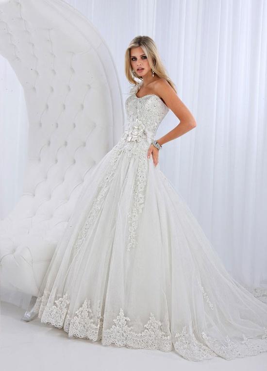 one shoulder bridal gown