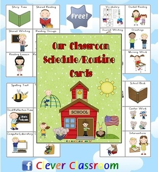 Free on TpT. Our Classroom Schedule Routine Cards - PDF fileA free download designed by Clever Classroom.96 x classroom routines.6 routines to ...