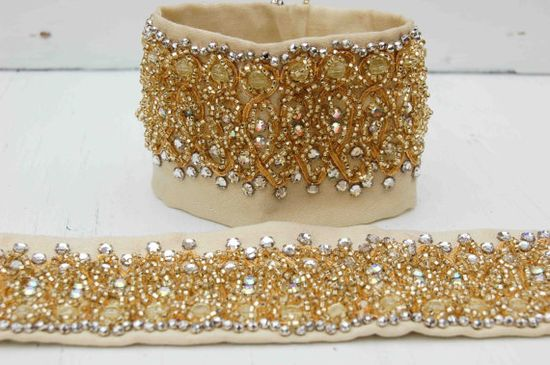 Vintage Rhinestone CUFFS Beaded Gold Fabric by redtruckdesigns