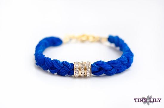 TINNLILY Silk Cobalt Rhinestone Bracelet with by TINNLILY on Etsy