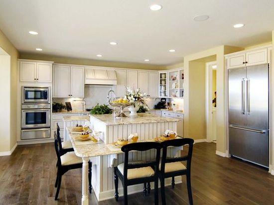 Look 8: White Kitchen With Dark Hardwood
