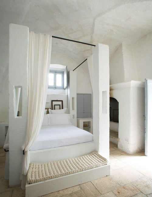 """""""Masseria Bedroom"""": Rizzoli just released a new book focusing on the traditional fortified farm house found in the Puglia region of Italy. White on white looks fantastic with this blend of old and new!"""