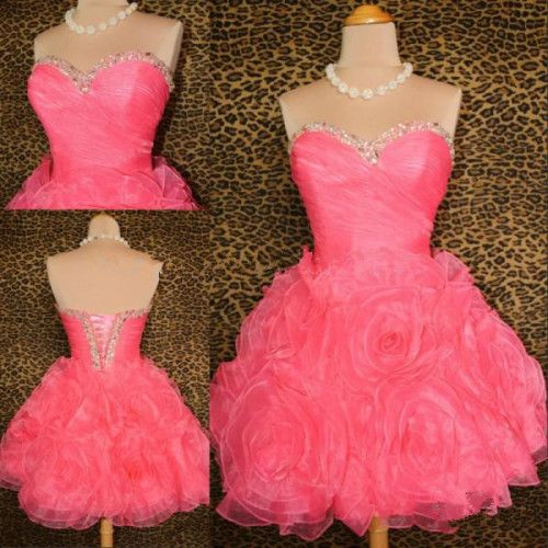 Sweetheart Beaded Neck Homecoming Dress With Handmade Flowers #ShopSimple