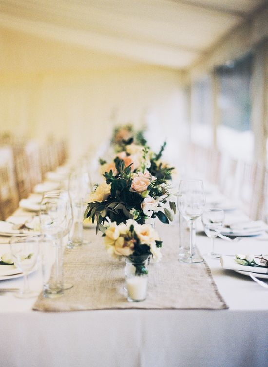 long reception table // photo by David Jenkins Photography, flowers by Fiona Perry // View more: ruffledblog.com/...