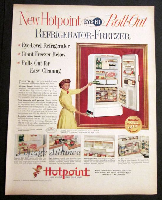 Kitchen Decor 1955 Hotpoint Refrigerator by VintageAllianceAds, $5.95