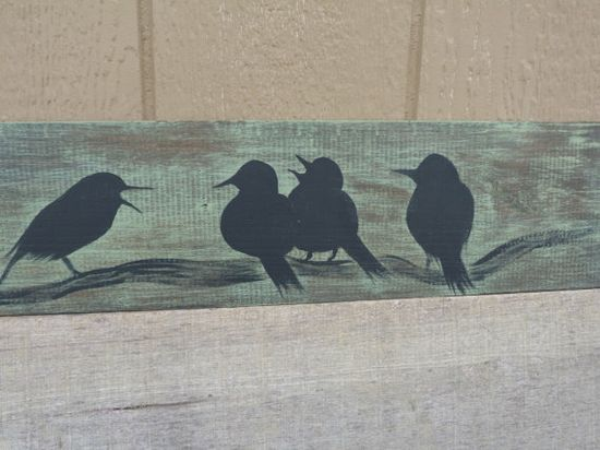 Birds on distressed wood