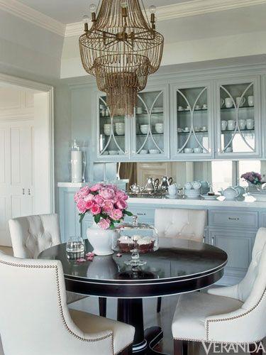 Half moon shape molding over glass doors. Luxury Home Interior Design – Jennifer Lopez Art Deco Home
