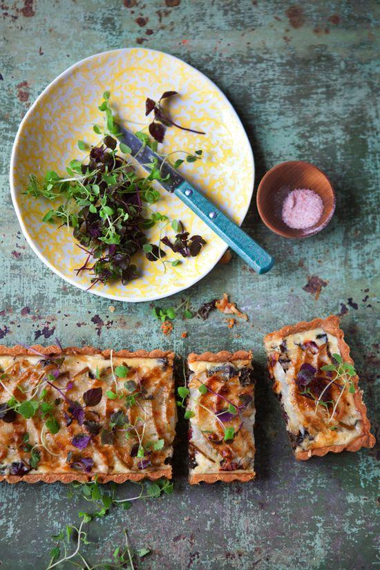 // swiss chard, pear and gruyere tart