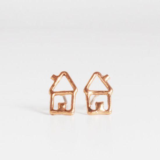 little house earrings, rose gold plated