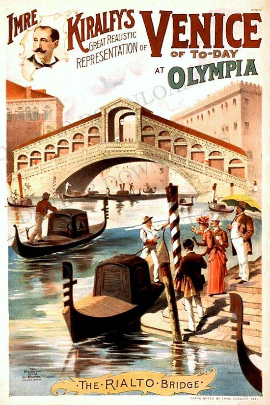 Italy Venice Rialto Bridge Vintage Travel Poster Digital Image Download  No. 4758 Buy 3 Images and Get 2 Free. $1.00, via Etsy.