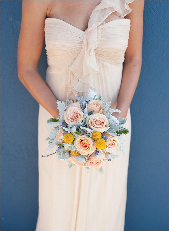 peach wedding dress and bouquet