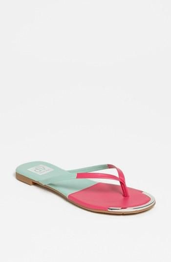 Cute! Colorblock pink & mint sandals.