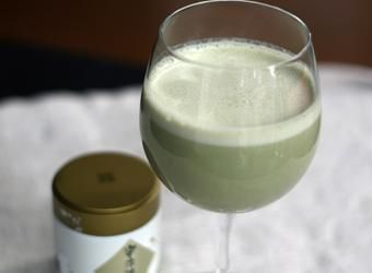 Add a bit of matcha (green tea powder) to change up your fruit smoothie routine.