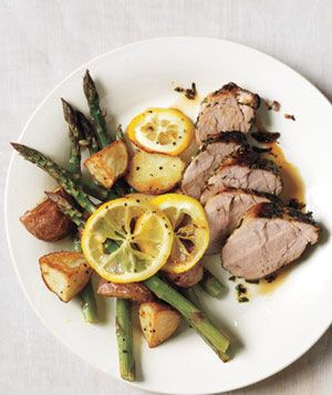 Herb-Rubbed Pork Tenderloin With Potatoes and Lemony Asparagus recipe from realsimple.com #MyPlate #protein #vegetables