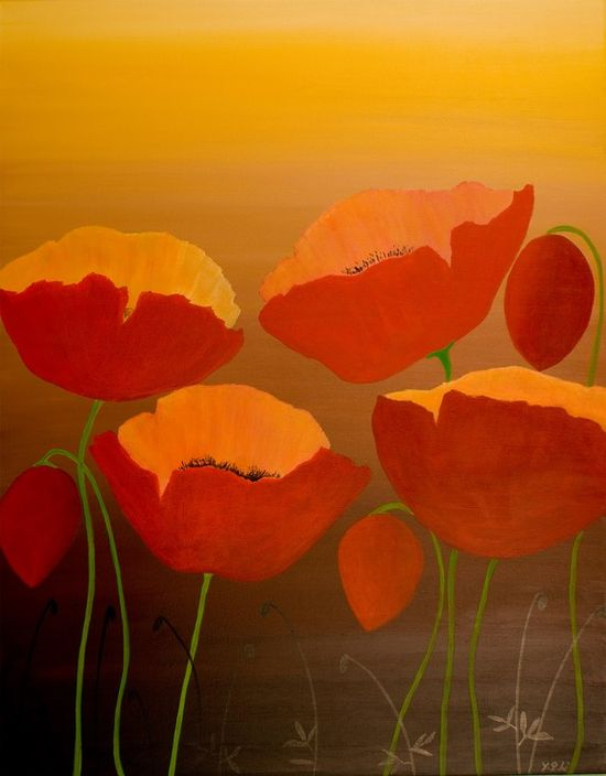 """Abstract Modern Original Acrylic Painting Landscape Flower Wall Decor """"Poppy Delight"""" by QIQIGALLERY 22x28. $179.00, via Etsy."""