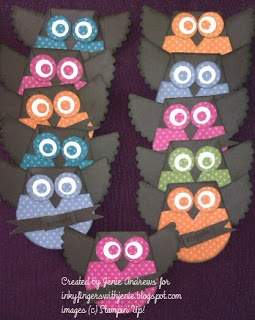 owls using Stampin Up's Petal Cone Die