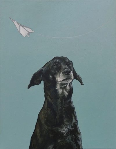 """Doggy"" is an oil painting on canvas by Dutch artist Iet Langeveld."