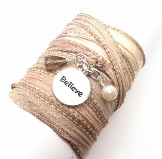 Hand Dyed Silk Wrap Bracelet with Believe by charmeddesign1012