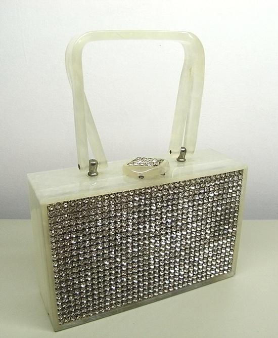 Lucite purse with rhinestones