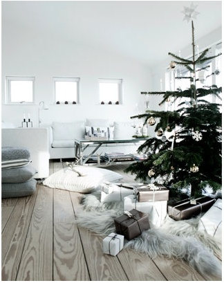 love the feel of this room; simple Christmas tree
