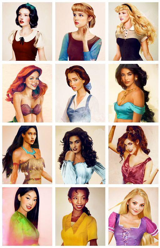 Realisic Disney Princesses. Snow White, Cinderella, Sleeping Beauty, Ariel, Belle, Jasmine, Pocahontas, Esmeralda, Meg, Mulan, Tiana, Rapunzel.