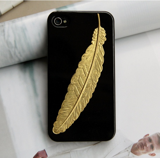 Golden angel feather iPhone 4 Case via etsy