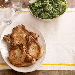 Dinner tonight: Sautéed Pork Chops with Kale. You can even sautéed them in the same pan! #recipes #dinnerideas