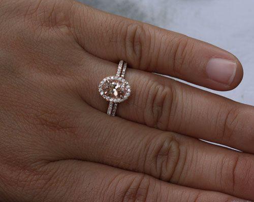 14k Rose Gold 7x5 Morganite Oval Engagement Ring and Diamonds Wedding Band set