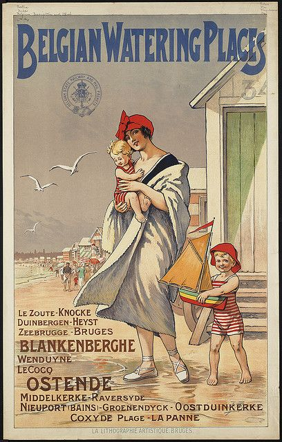Belgian Watering Places - beach with cabins, the great news on the european beaches!  by Boston Public Library, via Flickr #riviera #essenzadiriviera.com