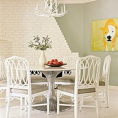 #yellow #art #white #dining