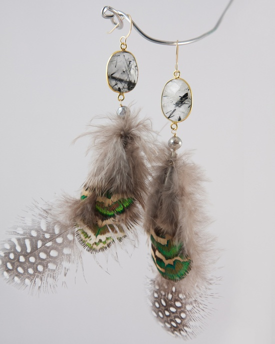 quartz & feather earrings