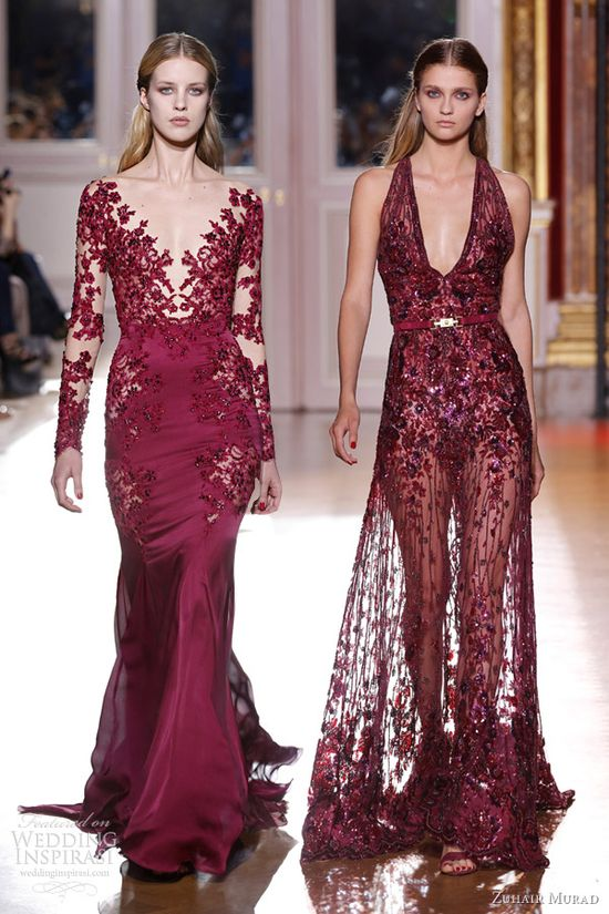 zuhair murad fall 2012 couture dresses red burgundy floral gowns