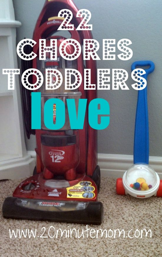 22 Chores Toddlers Love by 20minutemom: Kids love to mimic you. By encouraging them to participate on their own level they learn whole life skills, develop language and learn cooperation. Best of all, the two of you have more fun than with many 'toys'. For when nothing works remember: 'The cleaning and scrubbing can wait till tomorrow. But children grow up, as I've learned to my sorrow. So quiet down cobwebs; Dust go to sleep! I'm rocking my baby and babies don't keep. by Ruth H. Hamilton #Kids