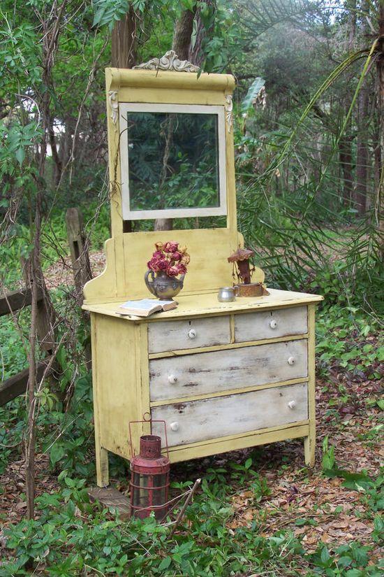 Dresser with Mirror by junkdrawerdivas on Etsy, $749.00