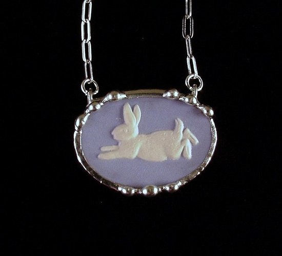 Broken china necklace made from a broken Wedgwood peter rabbit plate ...made by Laura Beth Love, Dishfunctional Designs