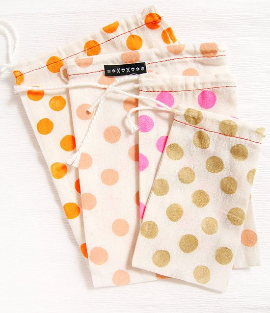 Hand Stamped Dotted Cotton Bags
