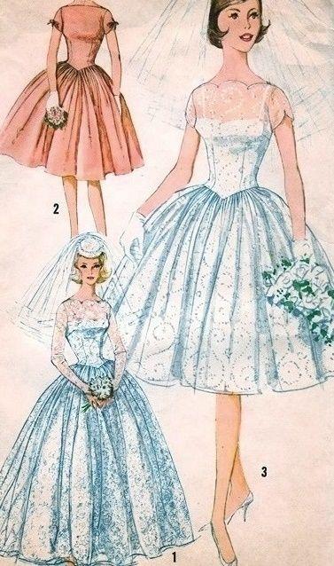 vintage wedding dress sketches