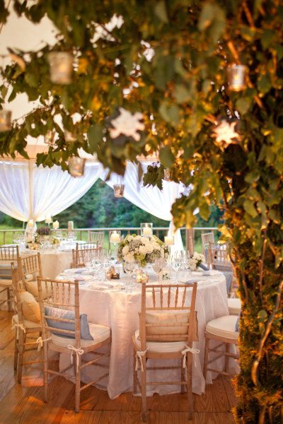 a tented backyard reception