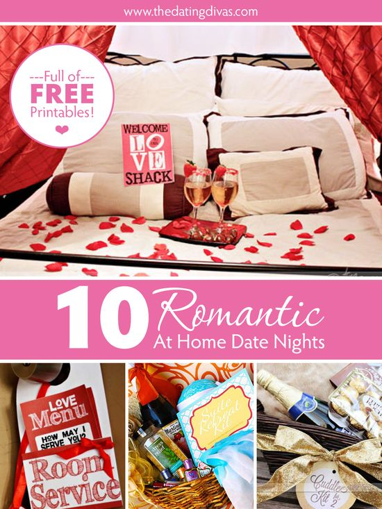 10 ideas for a night of romance AT HOME. No babysitter required PLUS lots of free printables included! www.TheDatingDiva... #datenightathome #romanticdates #romanceathome