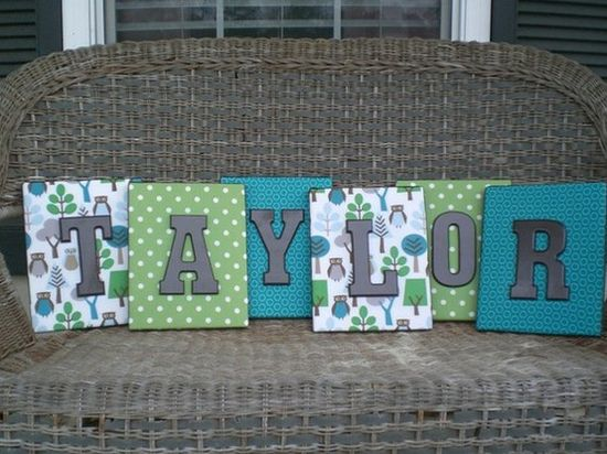 Canvas with scrapbook paper and then painted wooden letter to make a neat bedroom or any room decor.