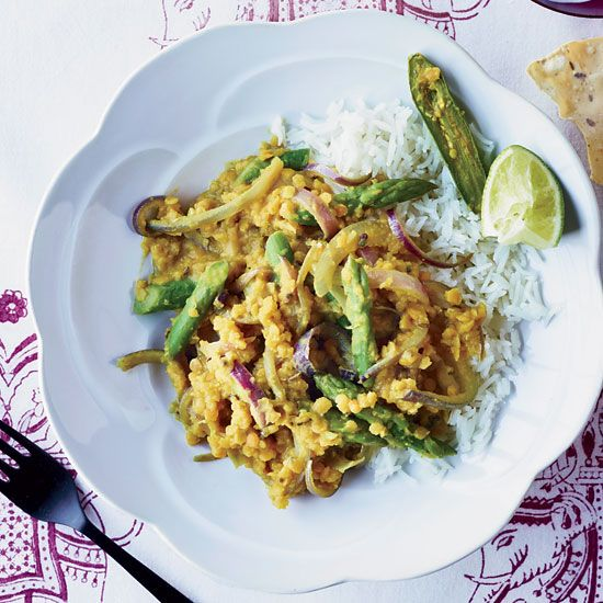 Red Lentil Dal with Tamarind and Asparagus // More Great Lentil Recipes: www.foodandwine.c... #foodandwine