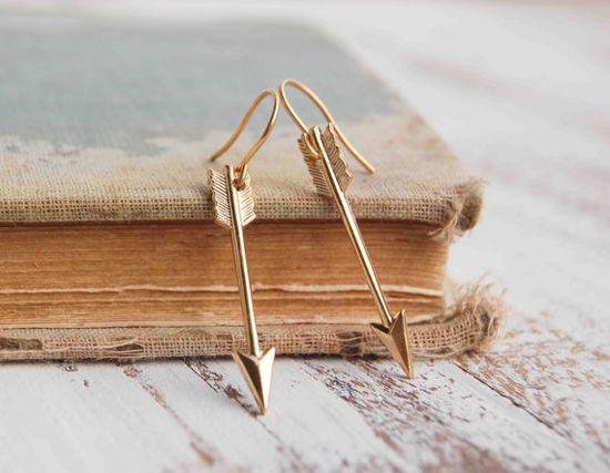 Golden ARROW Earrings by redtruckdesigns on Etsy